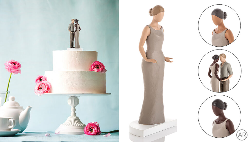 Images showing examples of additional photoshop work used to add the photographed product onto a previously purchased image of a cake and to create graphic style images for an Amazon listing.   Work by Andrea Russell