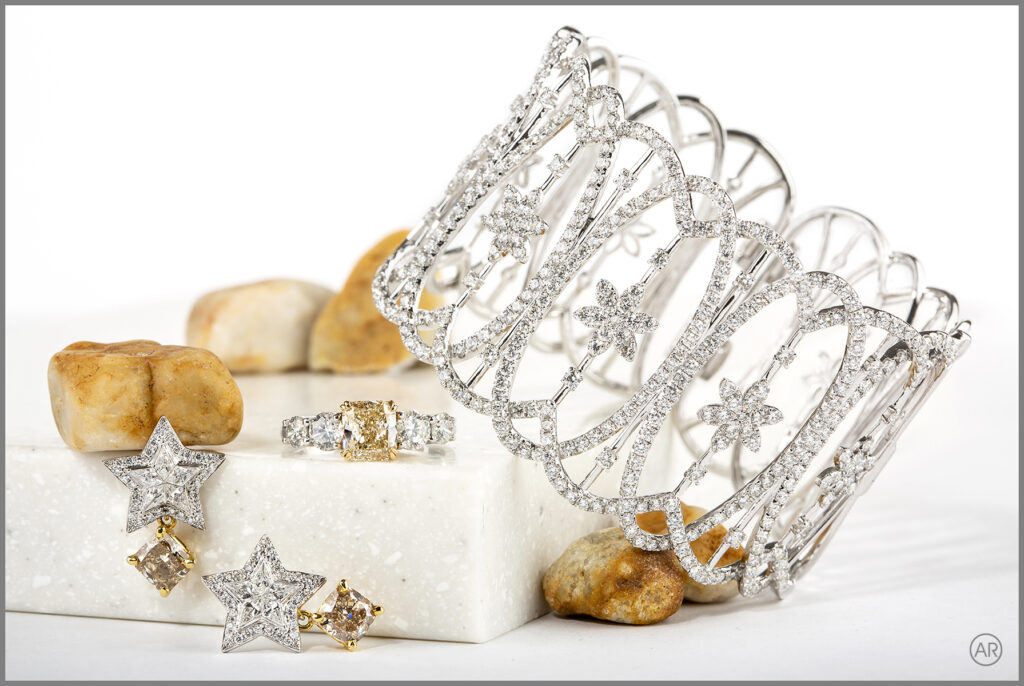 Advertising image styled with props. Perth Jewellery Product photography by Andrea Russell