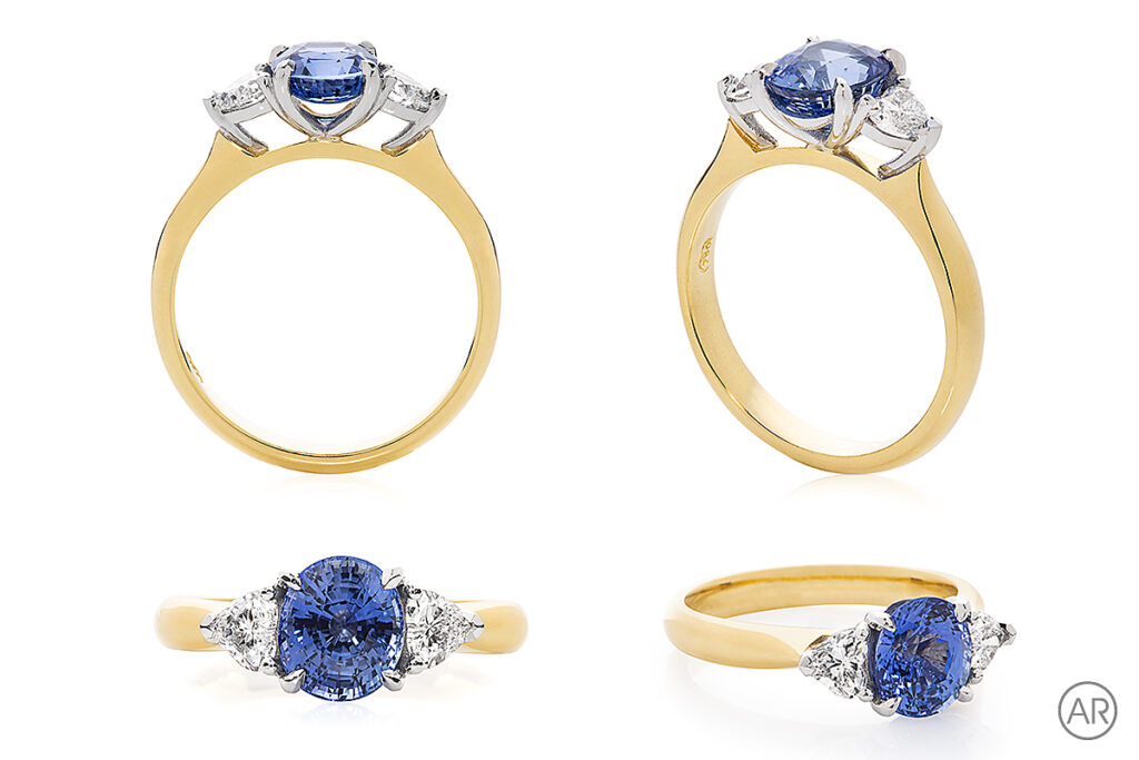 Andrea Russell Jewellery Photography to show 4 different angles of the same ring