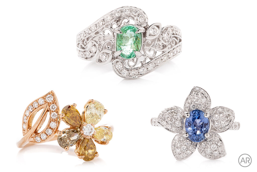 Examples of ring Photography by Perth product photographer Andrea Russell